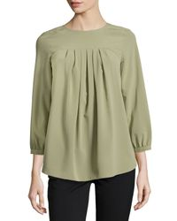 Catherine Malandrino - Green Pleated Georgette Blouse - Lyst