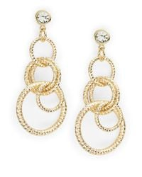 R.j. Graziano | Metallic Circled And Rhinestone Chandelier Earrings | Lyst