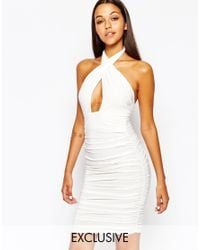 Club L | White Slinky Wrap Front Dress With Halterneck | Lyst