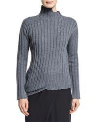 JOSEPH | Gray Asymmetric Wool Turtleneck Sweater | Lyst