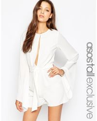 ASOS | Sheer Sleeve Playsuit With Tie Waist - Black | Lyst