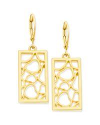 T Tahari - Metallic 14k Goldplated Heart Rectangle Drop Earrings - Lyst