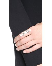 Rebecca Minkoff | Metallic Five Stone Ring - Silver Ox/Howlite | Lyst