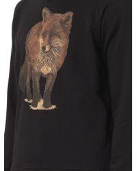 Maison Kitsuné - Black Fox-Print Cotton Sweatshirt - Lyst