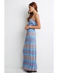 Forever 21 - Blue Strapless Print Maxi Dress - Lyst