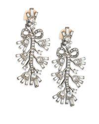 Oscar de la Renta - Metallic Floral Crystal Clip-on Drop Earrings - Lyst