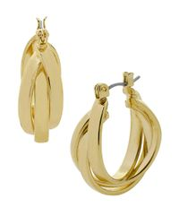 Kenneth Cole | Metallic Gold-tone Interlock Hoop Earrings | Lyst