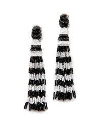 Oscar de la Renta | Blue Striped Tassel Earrings - Black/White | Lyst