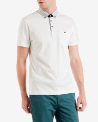 Ted Baker | White Floral Print Collar Polo Shirt for Men | Lyst