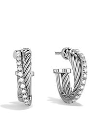 David Yurman - Metallic Crossover Extra Small Hoop Earrings With Diamonds - Lyst