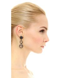 Oscar de la Renta | Black Framed Crystal Long Earrings | Lyst