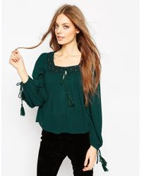 ASOS - Natural Mirror Embroidered Folk Blouse - Lyst