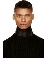 Juun.J - Black Leather Pointed Collar for Men - Lyst