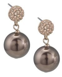 Carolee - White Large Glass Pearl Double Drop Earrings - Lyst