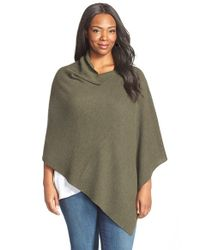Eileen Fisher | Green Drape Neck Merino Wool Poncho | Lyst