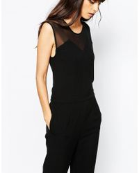 Just Female | Black Own Jumpsuit With Sheer Yoke | Lyst