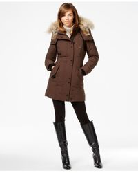 Rudsak | Brown Real-fur-trim Leather-trim Coat | Lyst
