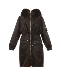 Moschino - Black Parka With Fur Hood - Lyst
