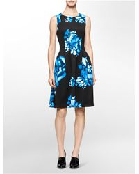 Calvin Klein | Black White Label Abstract Print Neoprene Sleeveless Fit + Flare Dress | Lyst