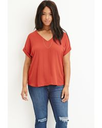 Forever 21 - Red Plus Size Crepe Dolman Top - Lyst