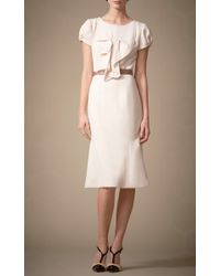 Carolina Herrera | Natural Cap Sleeve Dress with Ruffle Detail | Lyst