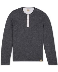 Lucky Brand | Black Heathered Long-sleeve Henley for Men | Lyst