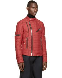 Balmain | Red Quilted Biker Jacket for Men | Lyst