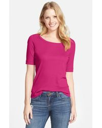 Halogen | Purple Caslon Ballet Neck Tee | Lyst