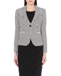 Armani | White Checked Cotton Jacket | Lyst