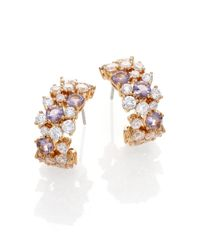 Adriana Orsini | Metallic Sweet Embrace Cluster J Hoop Earrings/goldtone | Lyst