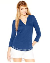 Lucky Brand | Blue Three-quarter-sleeve Crochet-trim Cotton Tee (only At Macy's) | Lyst