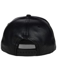 2672bd9744ca2 KTZ - Colorado Rockies Black On Black Faux Leather Perforated 9fifty  Snapback Cap for Men -