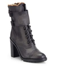 Tory Burch - Gray Broome Leather & Shearling Mid-Calf Boots - Lyst