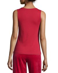 Joan Vass - Red Cotton Ribbed Tank Top - Lyst