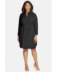 Halogen - Black Split Neck Shirtdress - Lyst