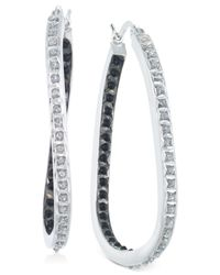 Macy's - Metallic Diamond In-and-out Hoop Earrings (1/10 Ct. T.w.) In Sterling Silver - Lyst