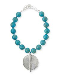 Nest - Blue Jasper Bead Necklace With Silver Pendant - Lyst