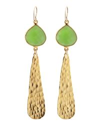 Devon Leigh | Metallic 18k Hammered Gold & Green Chalcedony Drop Earrings | Lyst