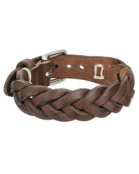 Fossil - Brown Braided Leather Bracelet for Men - Lyst