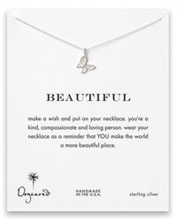 Dogeared | Metallic Sterling Silver Butterfly Pendant Necklace | Lyst