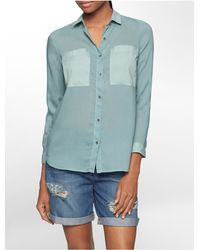 Calvin Klein | Green Jeans Lightweight Patch Pocket Long Sleeve Top | Lyst