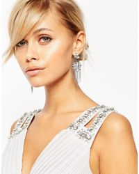 ASOS - Metallic Occasion Crystal Swing Earrings - Lyst