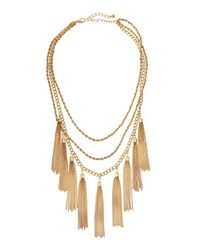 Panacea - Metallic Golden Tassel Fringe Necklace - Lyst
