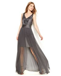 Vera Wang - Gray Lace Chiffon High-Low Gown - Lyst