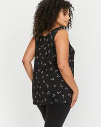 Addition Elle - Black Michel Studio Printed Sweetheart Tank Top - Lyst