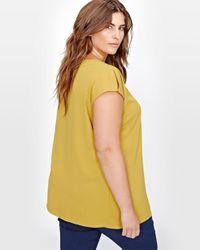 Addition Elle Yellow Michel Studio V-neck Blouse