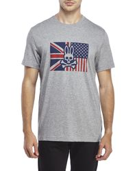 Psycho Bunny | Gray Bunny Flag Tee for Men | Lyst