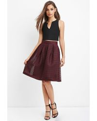 Forever 21 | Purple Shadow Stripe Mesh Skirt | Lyst