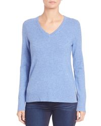 Saks Fifth Avenue - Blue Cashmere V-neck Sweater - Lyst