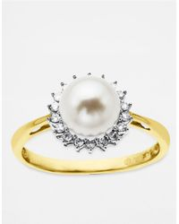 Lord & Taylor - White Gold Diamond And Freshwater Pearl Ring In 14 Kt. Gold 7mm - Lyst
